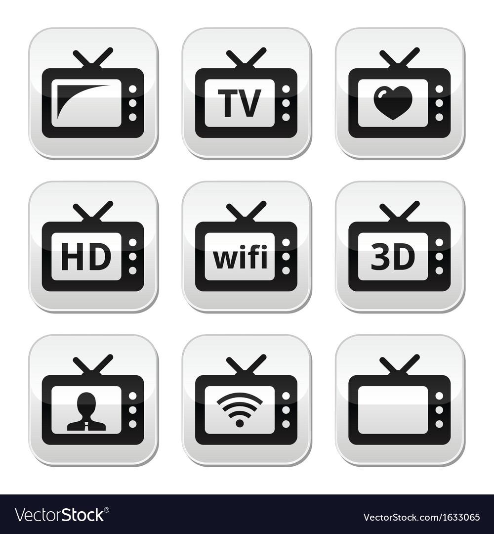 Tv set 3d hd buttons vector