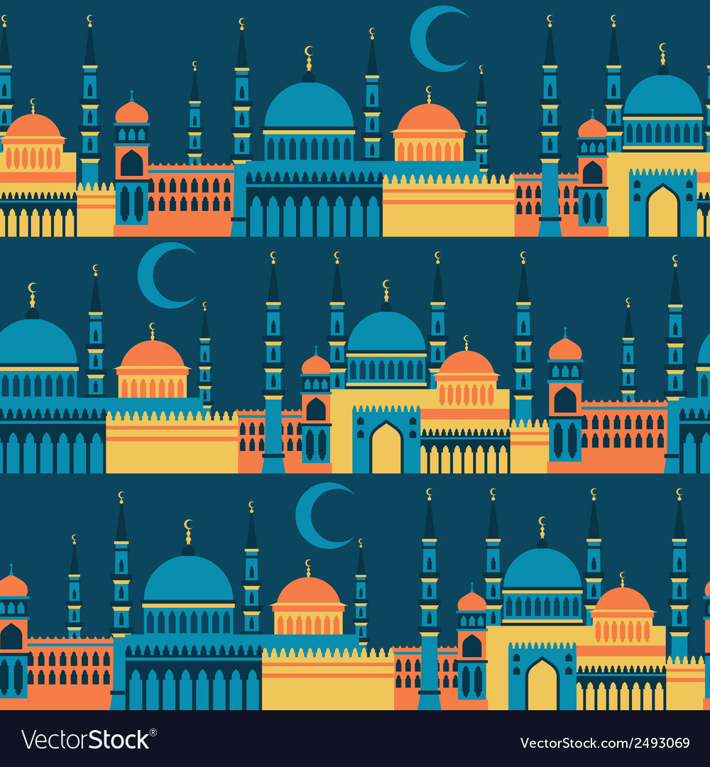 Islamic seamless pattern with mosques in flat vector
