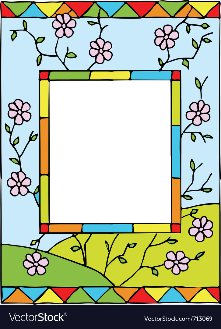 Spring flowers stained glass vector