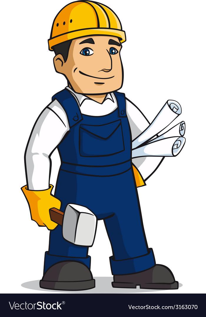 Builder man in cartoon style vector
