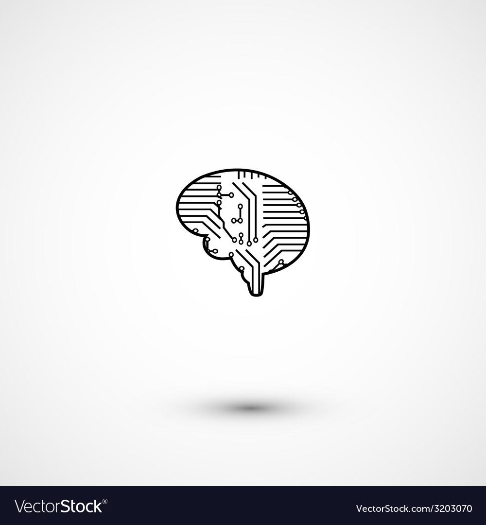 Flat electric circuit brain icon vector