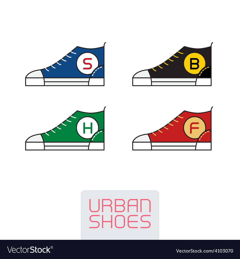 Set of stylized sneakers outline urban shoes sport vector