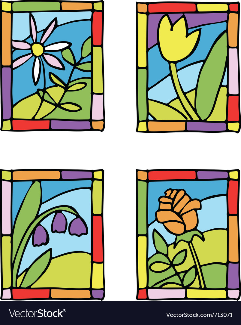 Spring flower stained glass vector