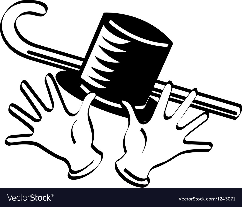 Top hat cane gloves vector