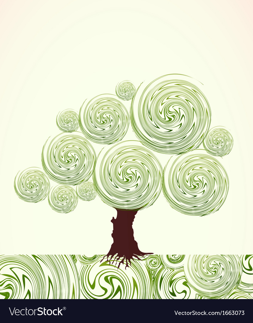 Hand drawn ornate swirl tree vector