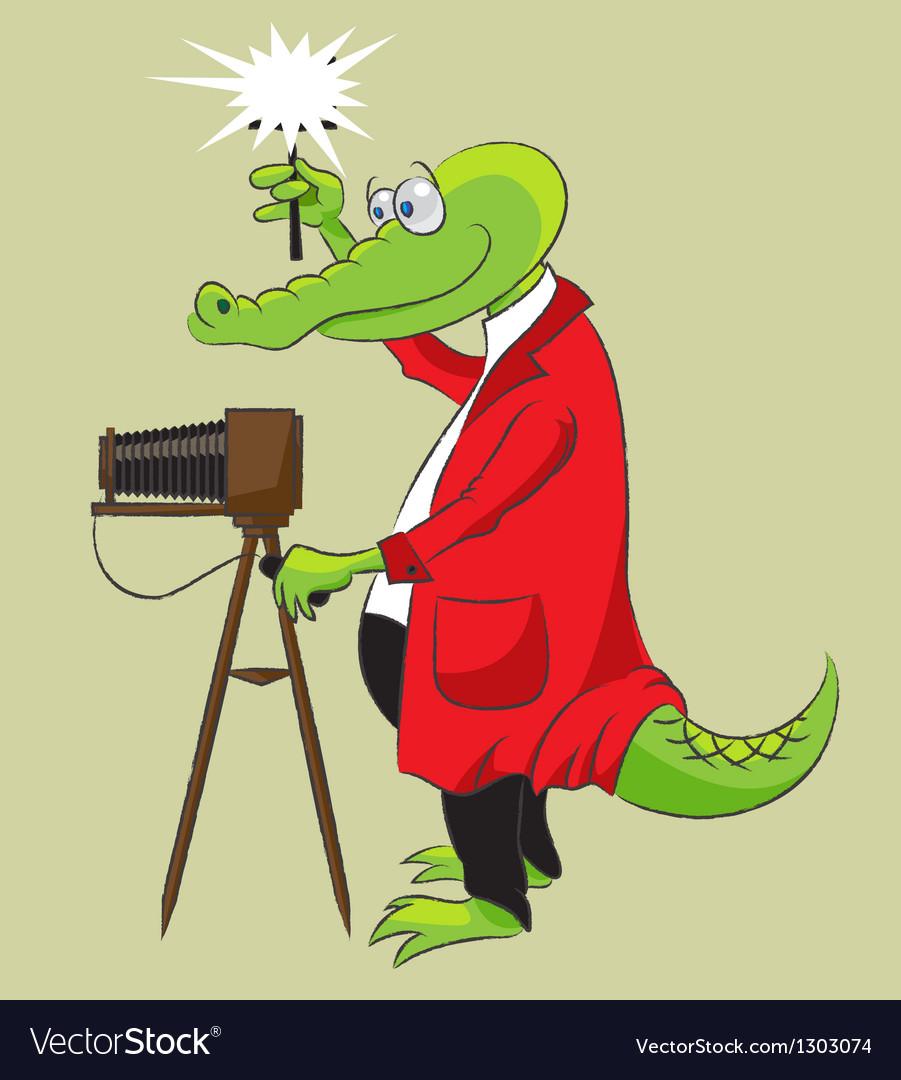 Crocodile photographer vector