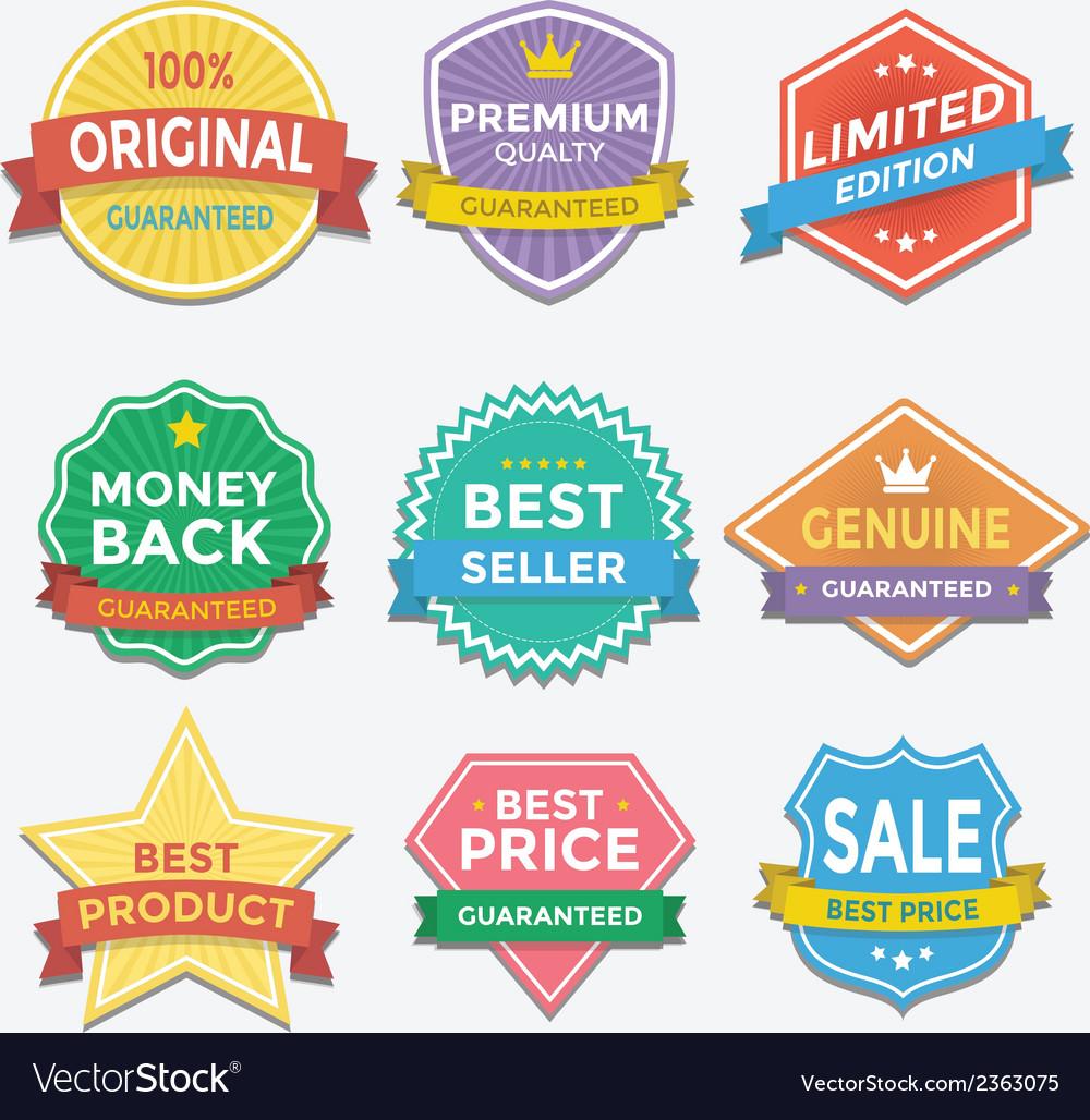 Flat color badges and labels promotion design vector