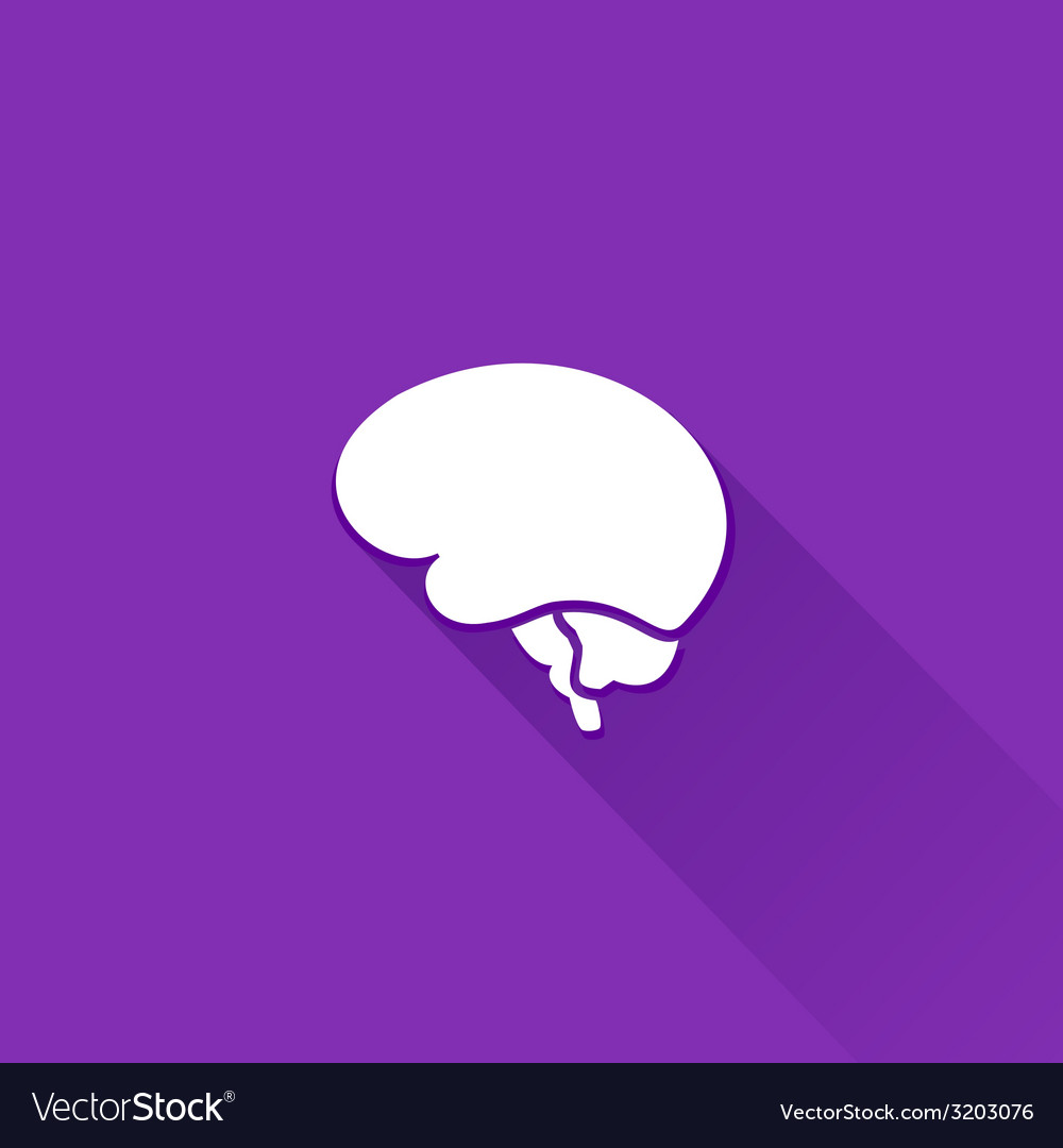 Flat long shadow brain icon vector