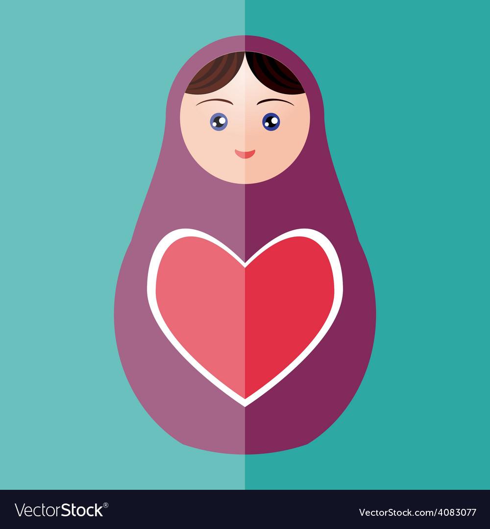 Russian doll matryoshka with heart on teal vector