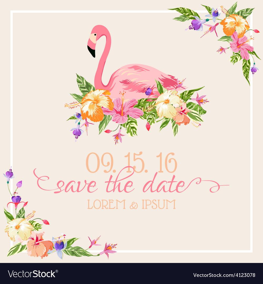 Invitation card set - flamingo theme vector