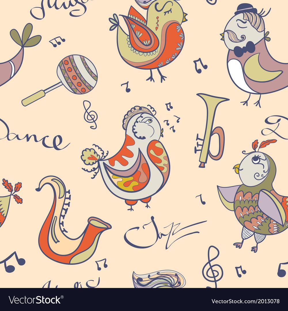 Jazz concept wallpaper birds sing and dancing vector