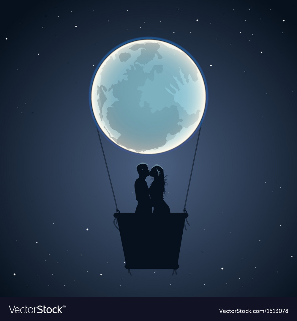 Lovers by hot air balloon in moon form vector