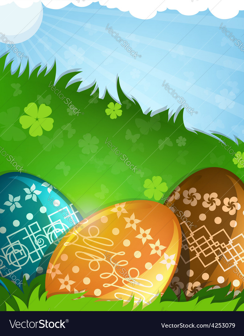 Painted easter eggs in the grass vector