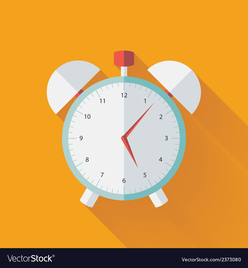 Alarm clock flat icon over yellow vector