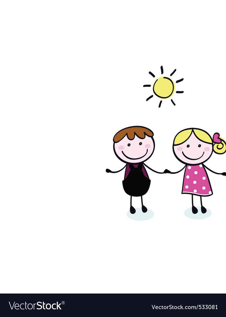 Doodle cartoon family vector