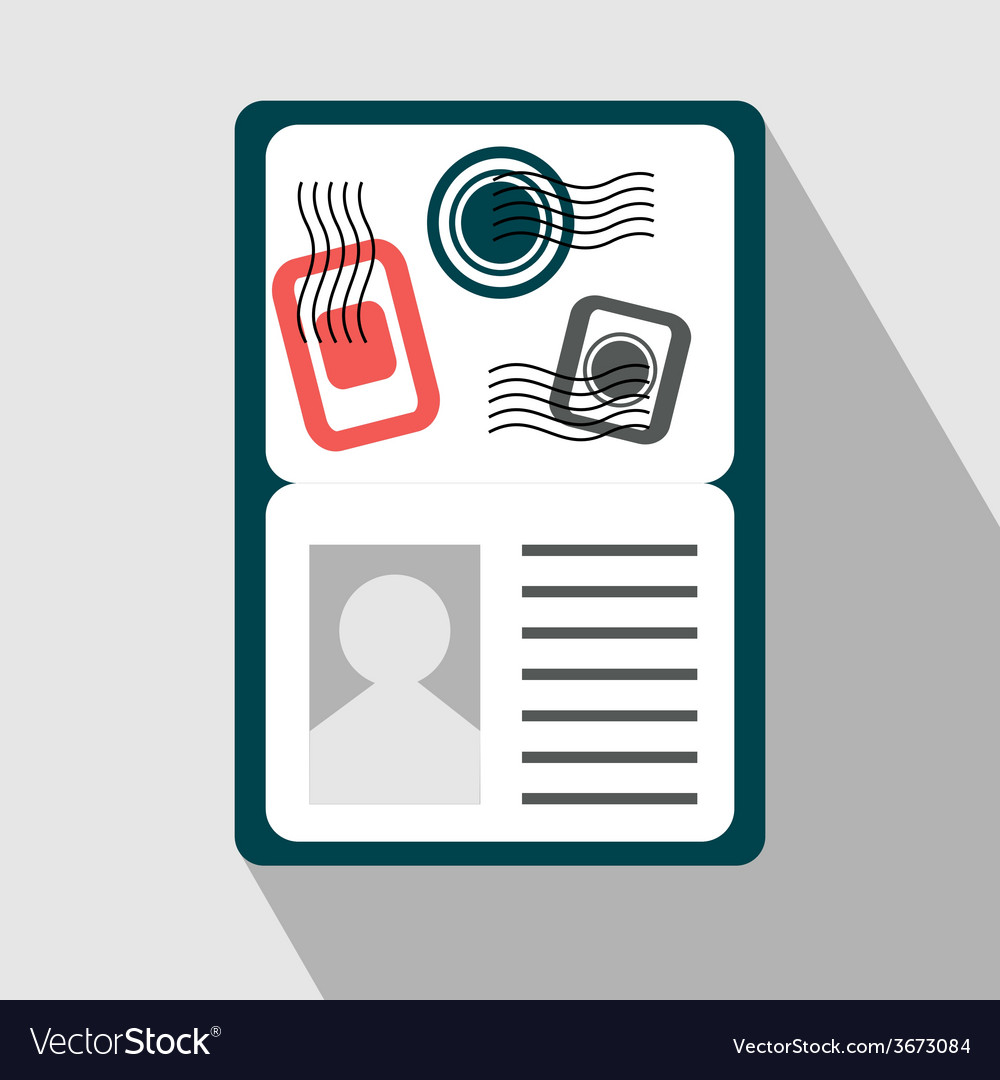 Passport with visa stamps flat icon vector