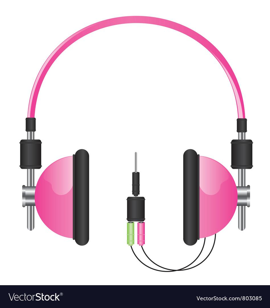 Headphones pink vector