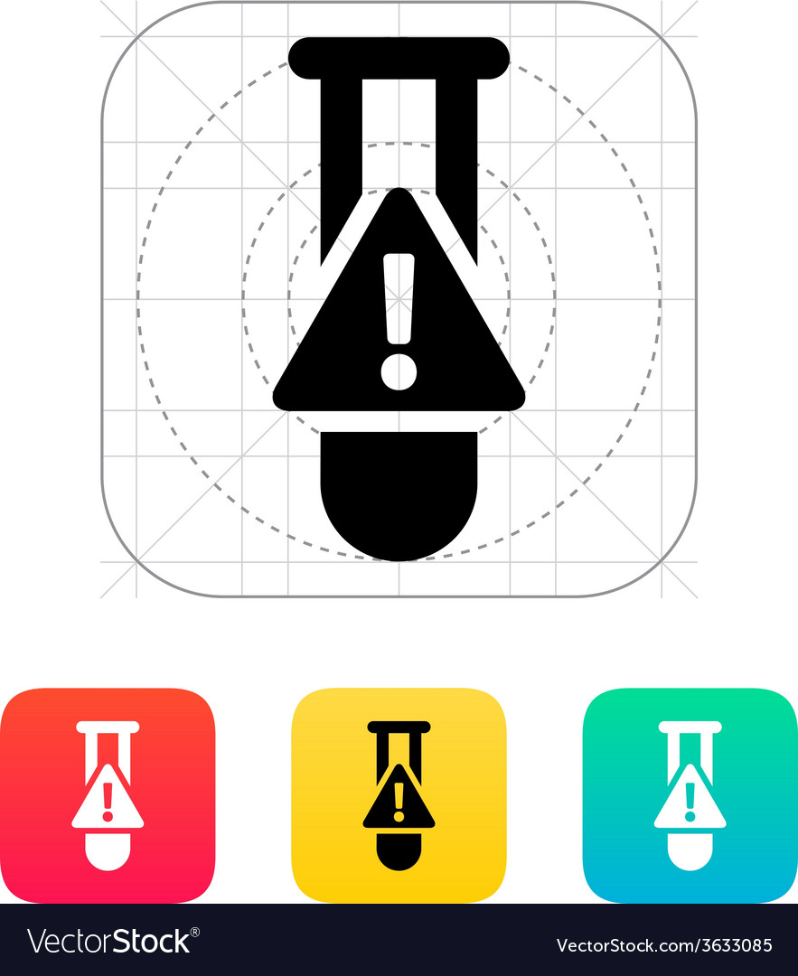 Test tube with warning sign icon vector