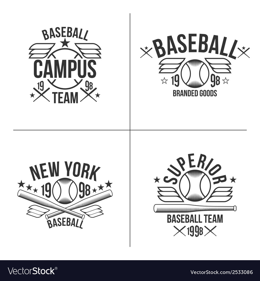 Baseball team emblems vector