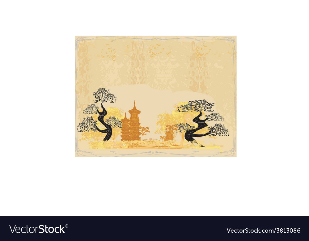 Chinese landscape - abstract ancient buildings vector