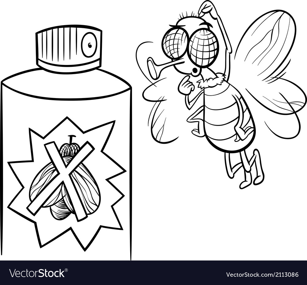 Fly and bug spray coloring page vector