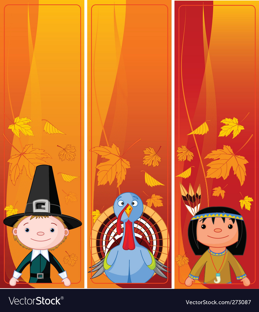 Vertical thanksgiving banners vector
