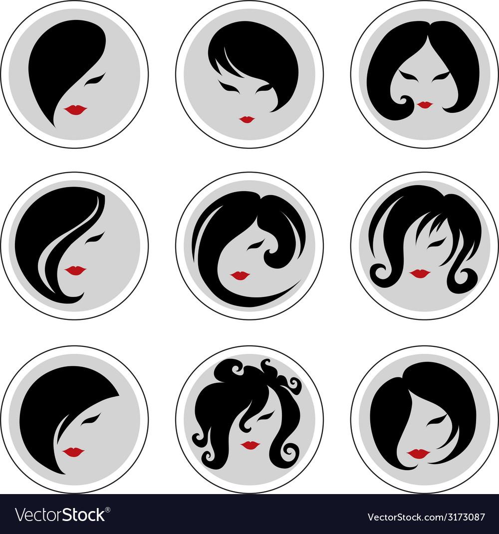 Woman hair pics 2 vector