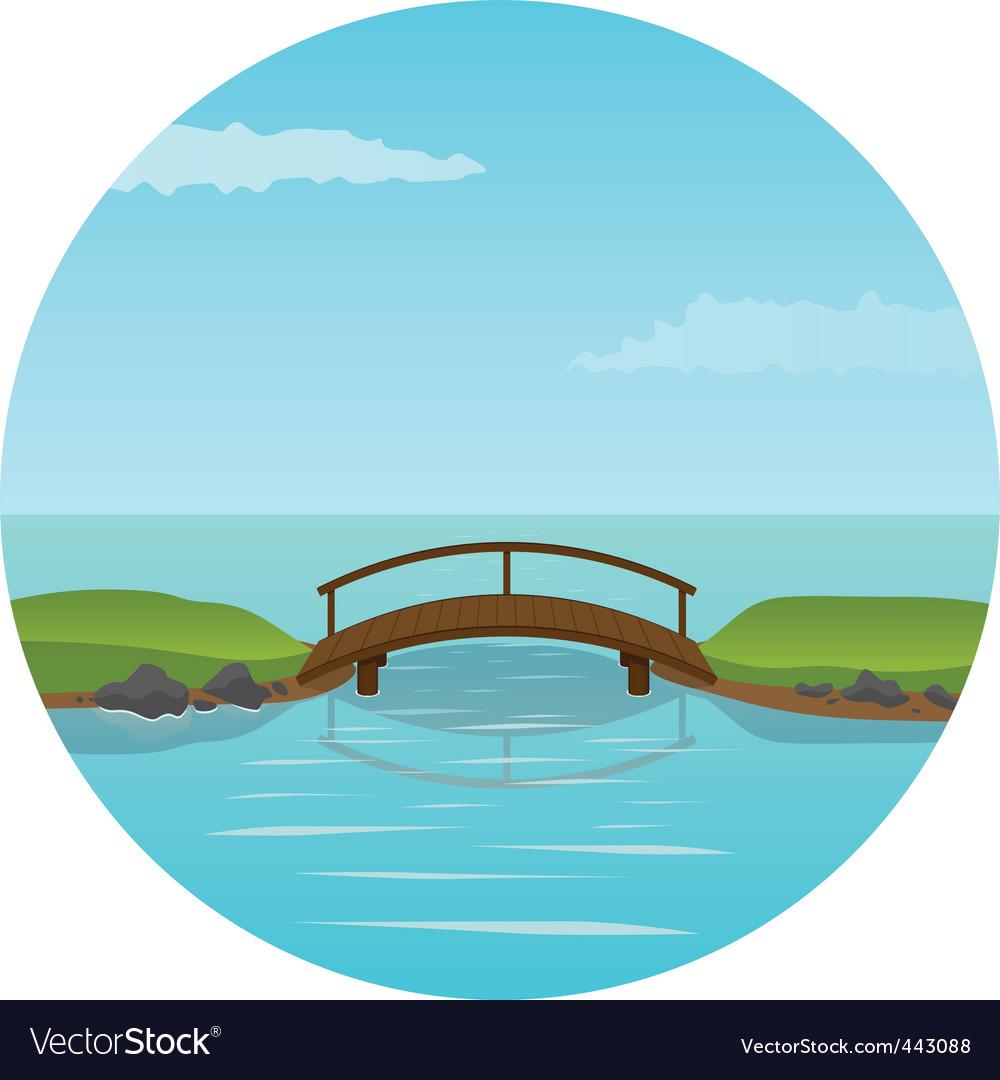 Small wooden bridge vector