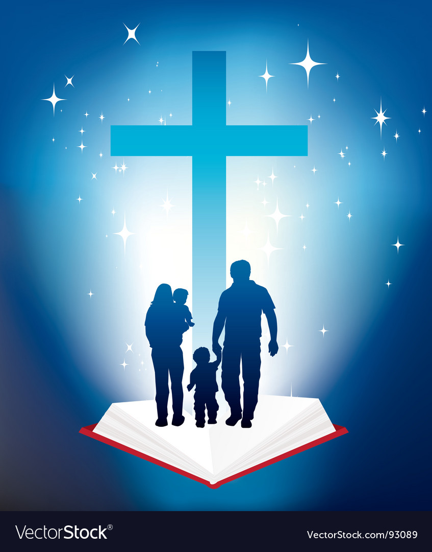 Bible light book family vector