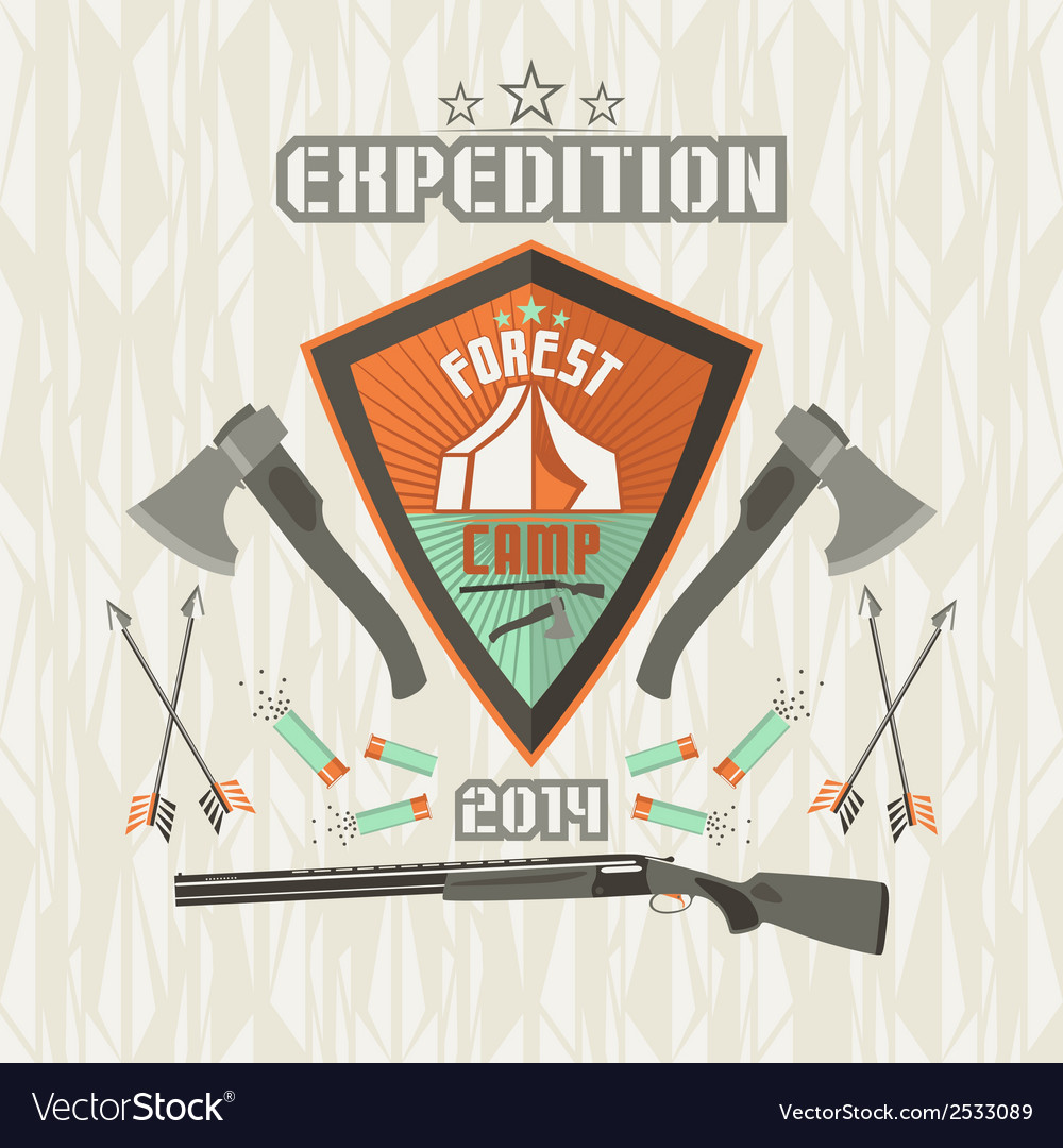 Expedition emblem forest camp vector