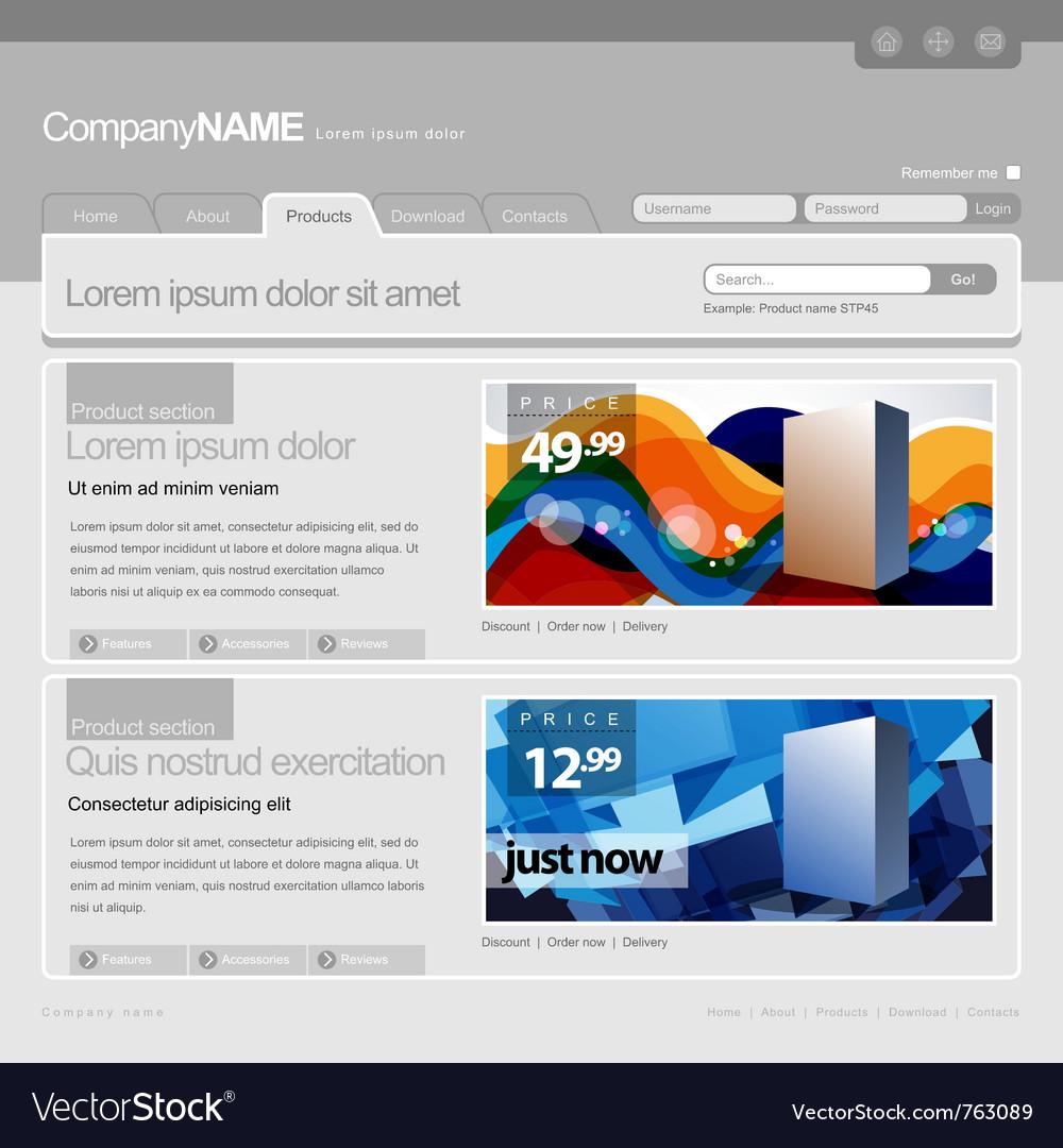 Gray website template vector