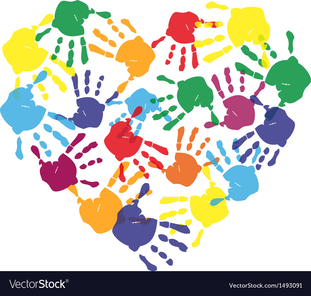 Colorful child hand prints in heart shape vector
