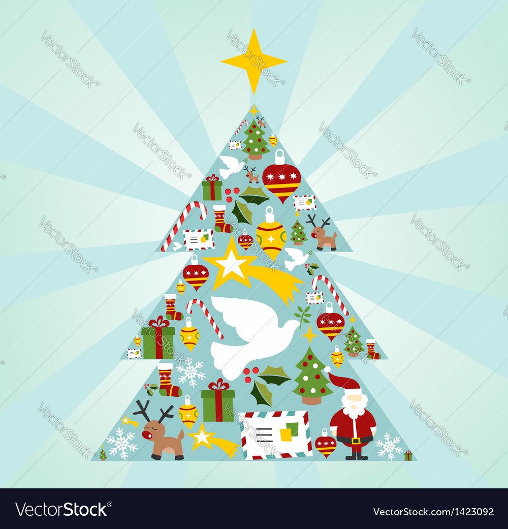 Christmas icon set in season tree shape vector