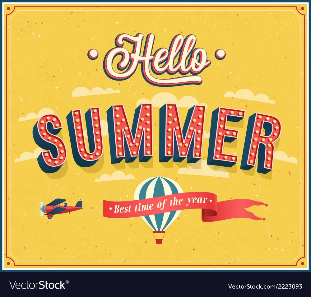 Hello summer typographic design vector