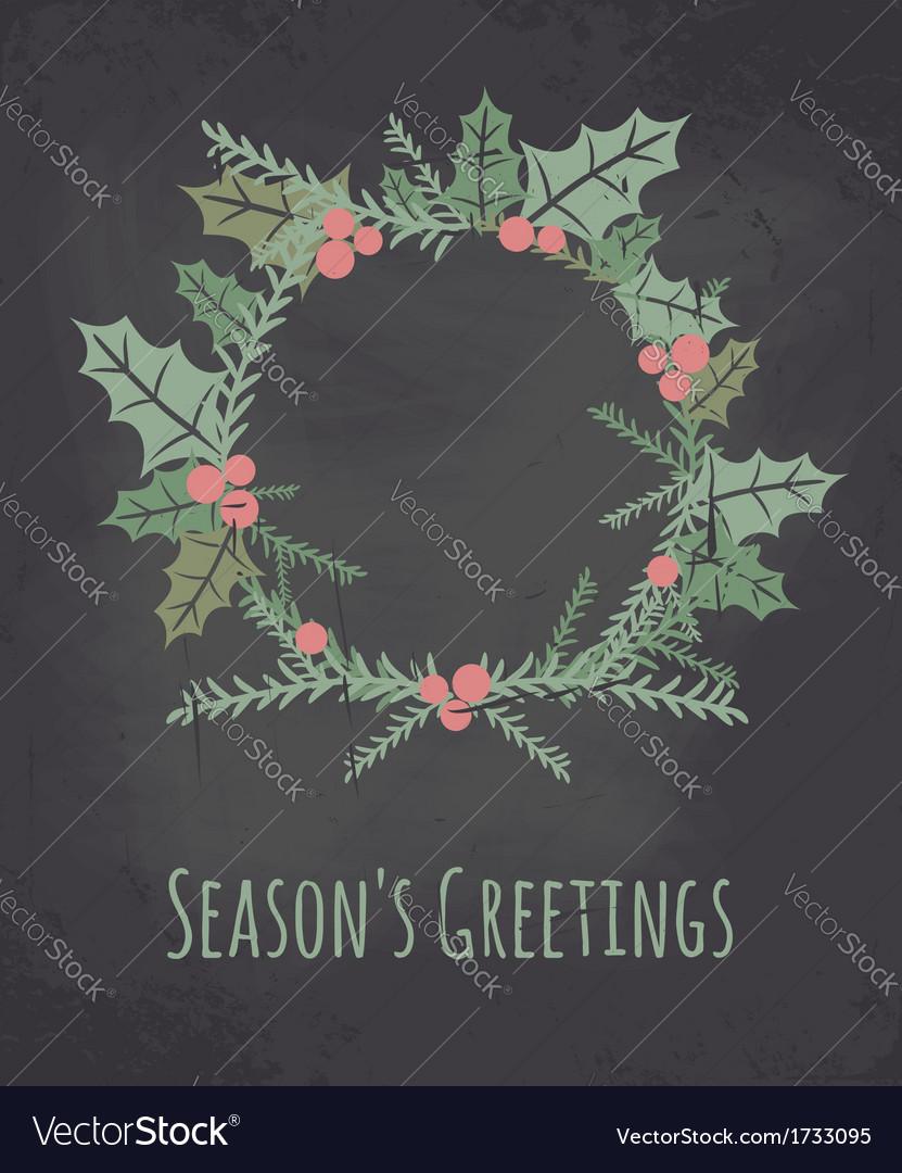 Chalkboard style christmas wreath greeting card vector