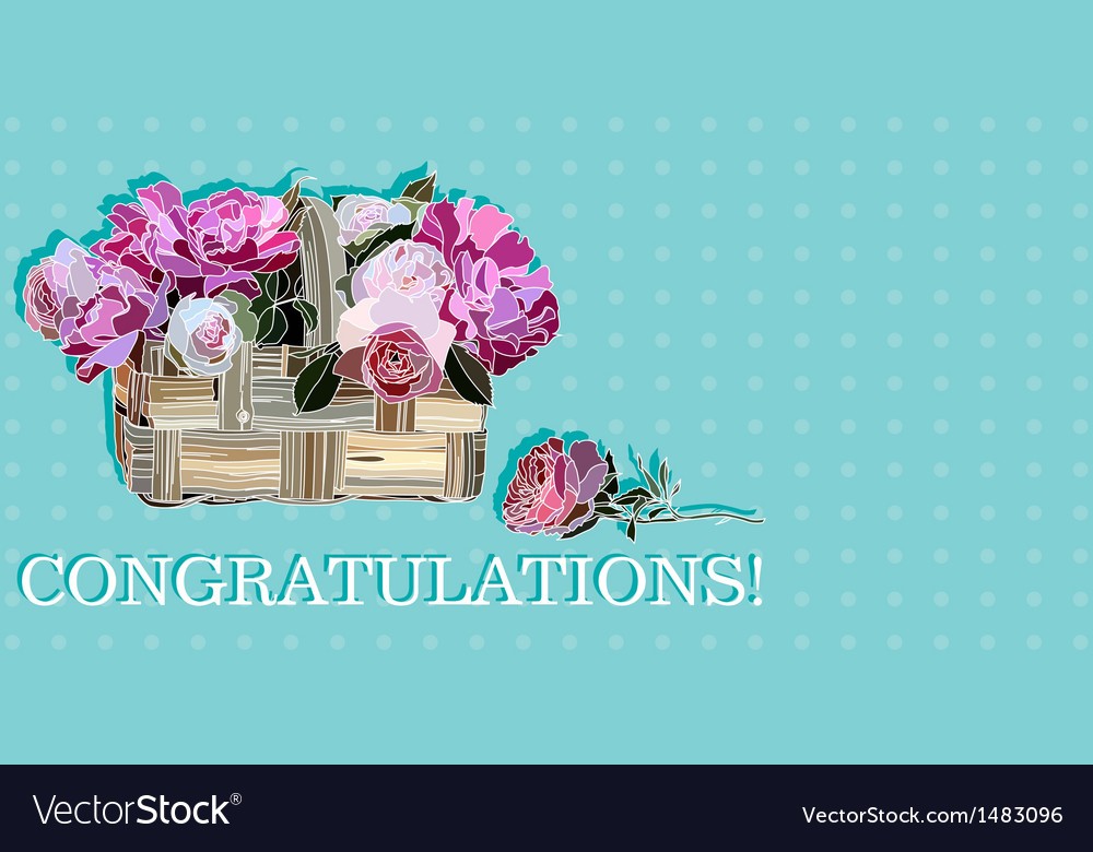 Congratulation with roses in a basket vector