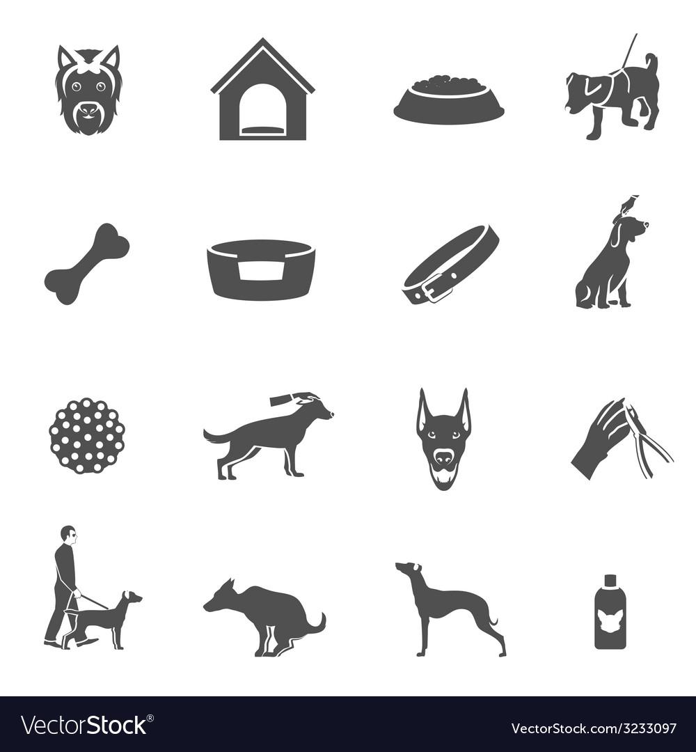 Dog icons black vector