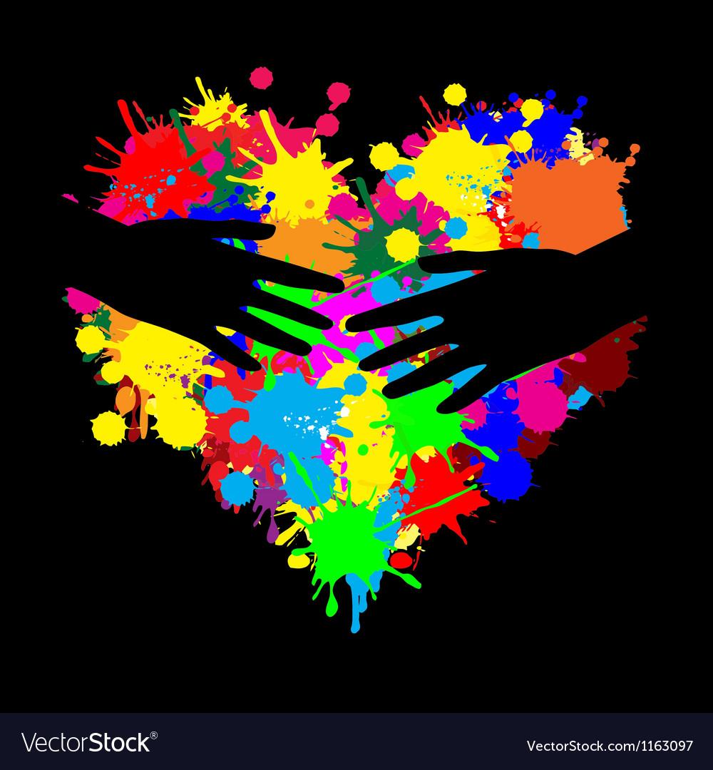 Paint splatter heart with two hands vector