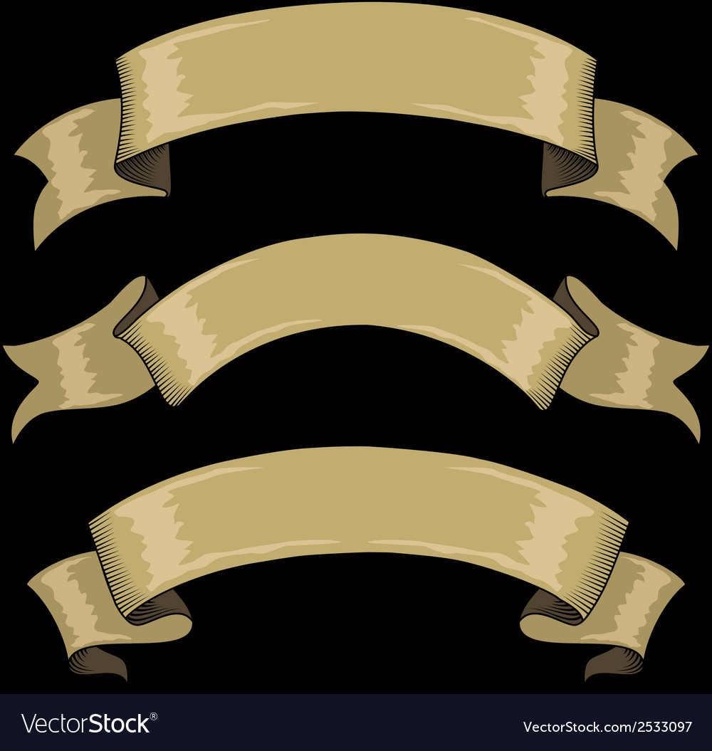 Ribbons in retro style vector