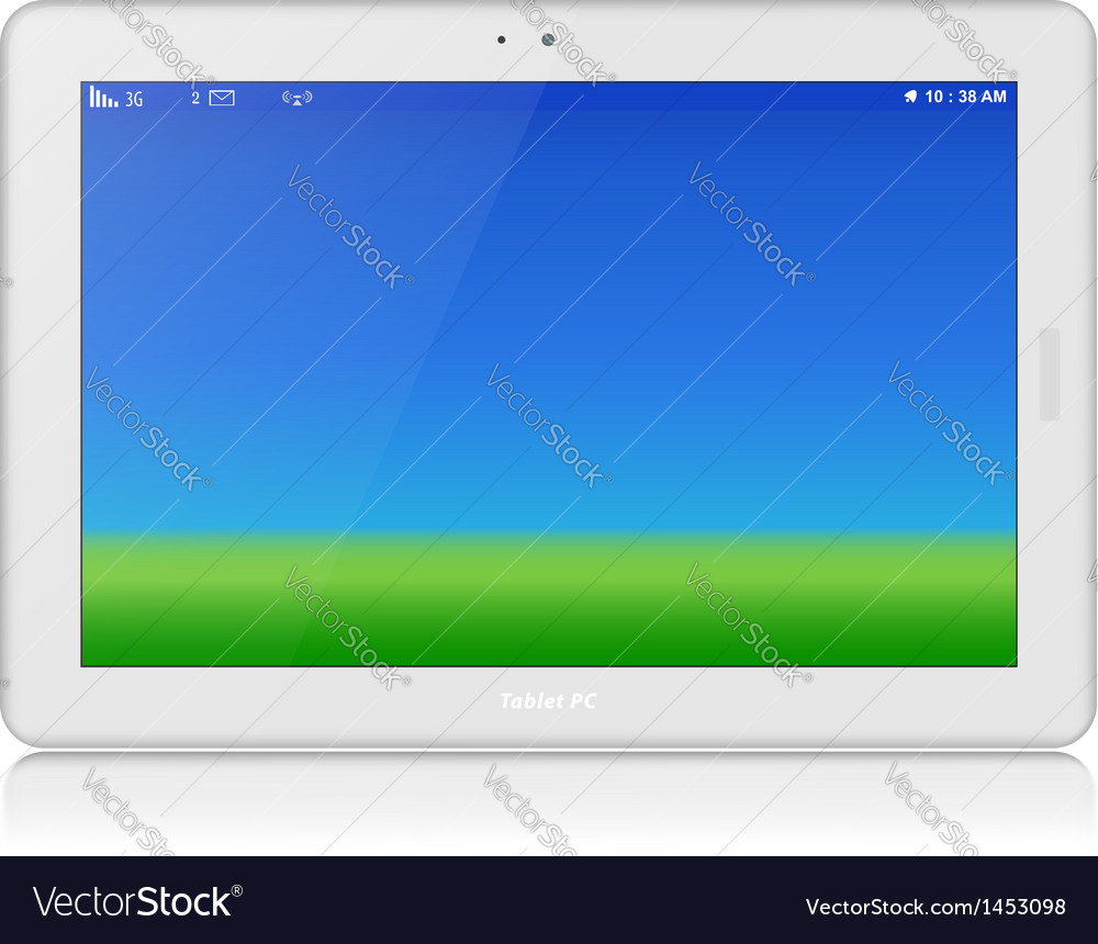 White tablet pc horizontal copy space vector