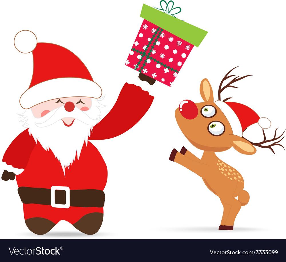 Santa claus and deer gift greeting card vector