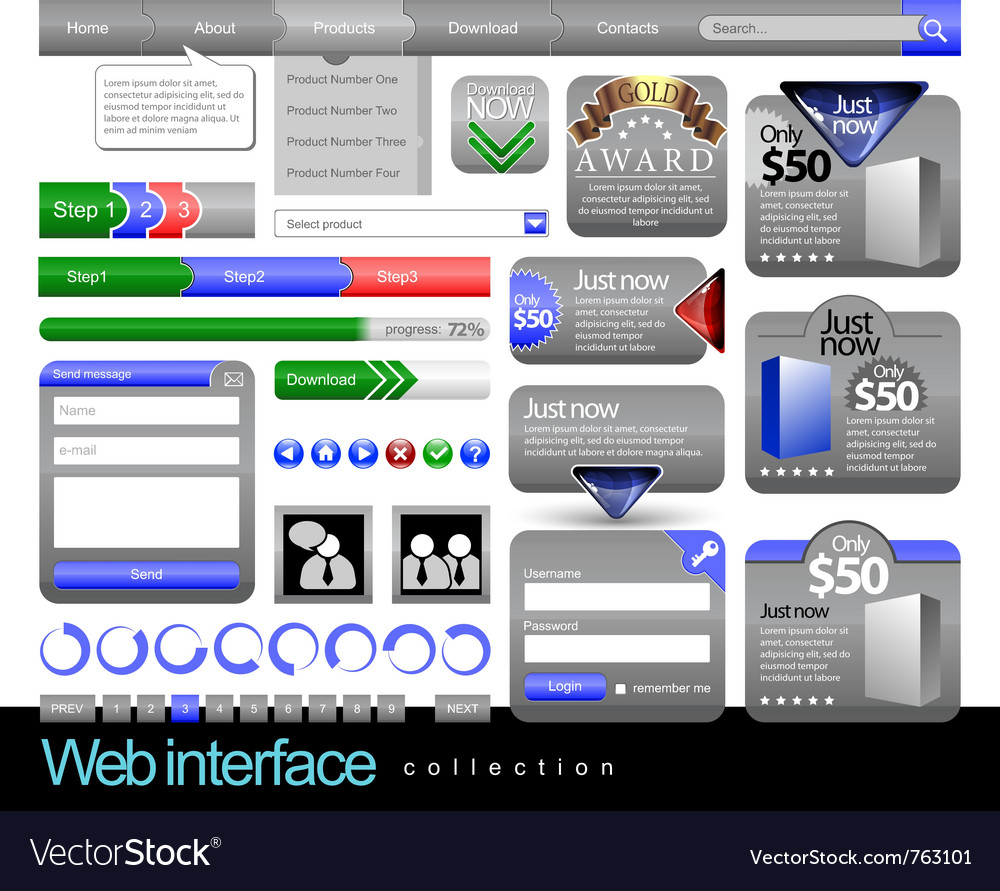 Web design element frame template vector