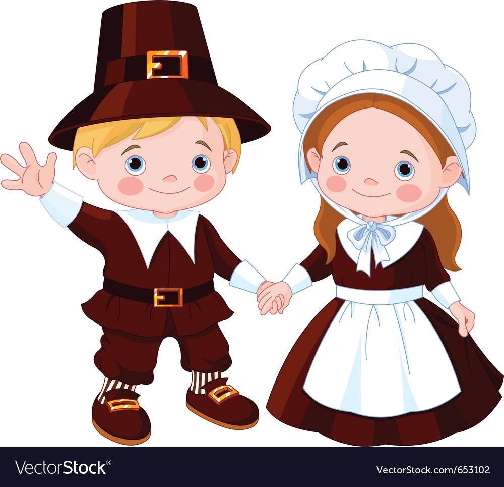 Thanksgiving day pilgrim couple vector