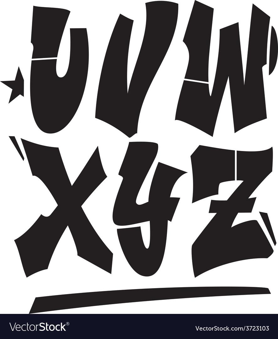 Graffiti style font type alphabet part 3 vector
