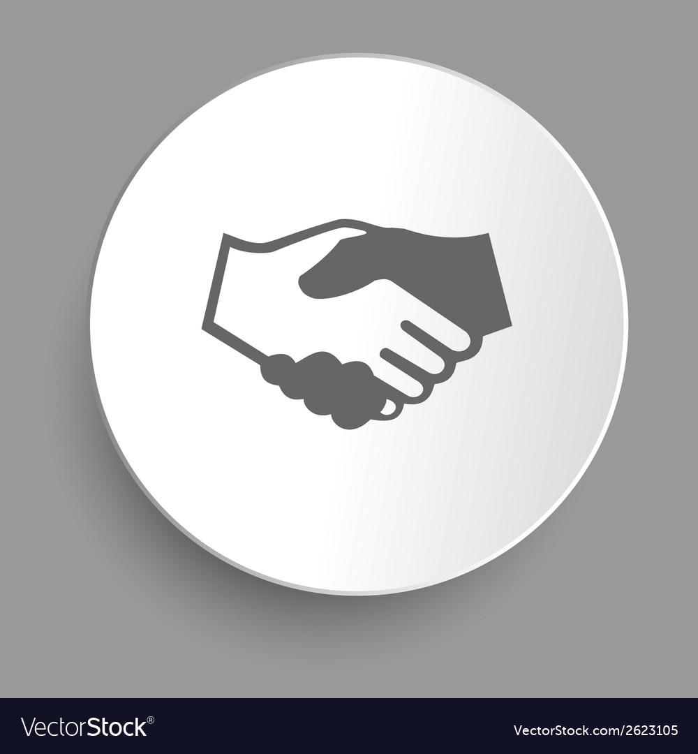 Handshake icon in sticker vector