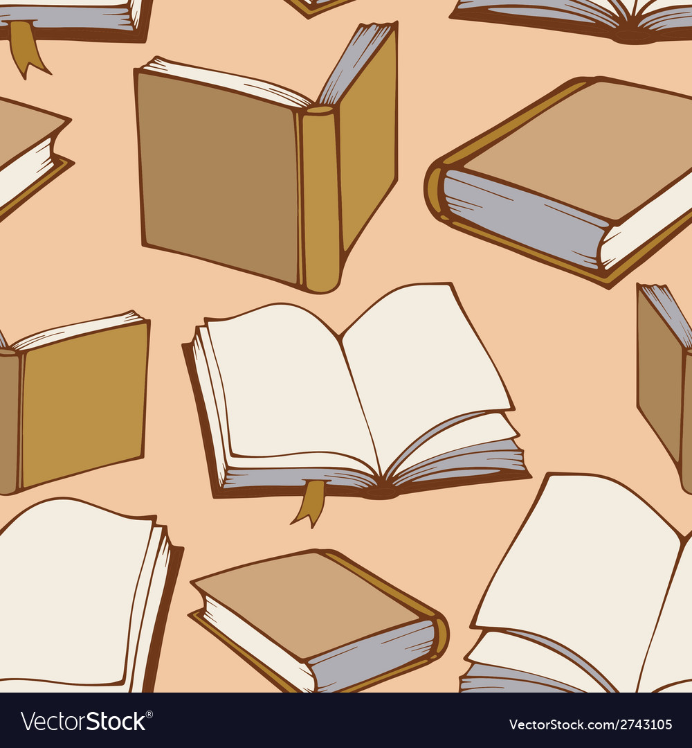 Seamless pattern with hand drawn decorative books vector