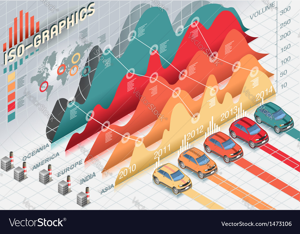 Isometric infographic set elements with cars vector