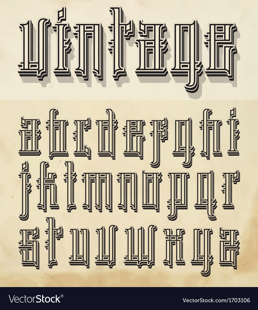 Vintage style font vector