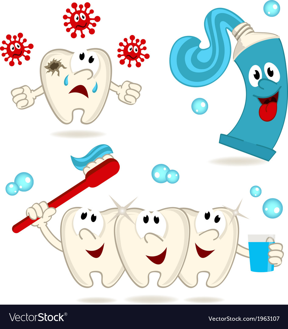 Caries tooth toothpaste and toothbrush vector