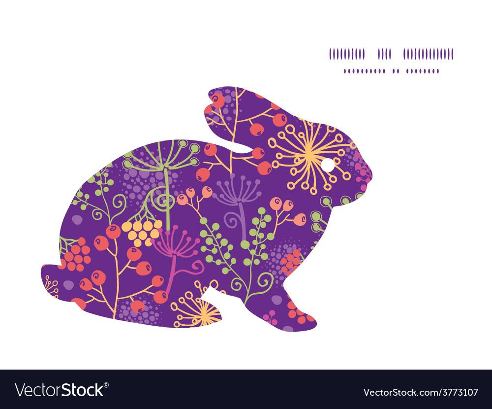 Colorful garden plants bunny rabbit vector